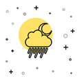 black line cloud with rain and moon icon isolated vector image vector image