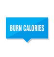 burn calories price tag vector image vector image