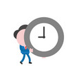 businessman character walking and holding clock vector image vector image
