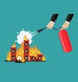 businessman with fire extinguisher is fighting vector image