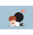 Businessmen and the bomb on his back vector image vector image
