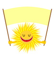 Cartoon Sun smile Funny Yellow Sun Holds a sign vector image