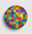 color circle background puzzle round jigsaw banner vector image