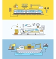 concept of freight forwarding rail by sea and air