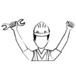 construction worker with wrench avatar vector image vector image