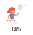 cute little girl playing tennis with racket flat vector image vector image
