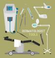 dermatologist equipment set vector image vector image