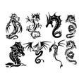 dragon tattoo set vector image