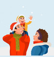 family standing together in snowy winter vector image