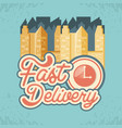 fast delivery with chronometer travel vector image vector image