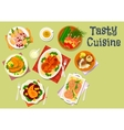 Fish and meat dish with sausage cheese snack icon vector image vector image