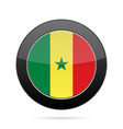 flag of senegal shiny black round button vector image