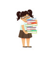 funny fat boy carrying stack of books nerd female vector image vector image