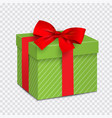 green gift box with red bow vector image