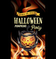 halloween party flyer with pumpkin and fire flames vector image