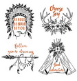 hand drawn boho style design elements vector image vector image