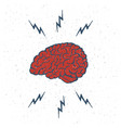 hand drawn brain lightning bolts vector image vector image