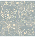 hand drawn seamless pattern on blue vector image