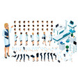 isometric constructor is a beautiful female doctor vector image vector image