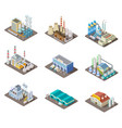 isometric factory set 3d industrial buildings vector image vector image