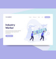 landing page template of industrial worker vector image vector image