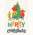 merry christmas greeting card with people family vector image vector image
