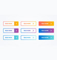 modern flat button set in different colors vector image