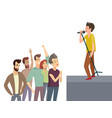 music performance singer on stage singing songs vector image vector image