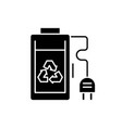 rechargeable battery black icon sign on vector image vector image