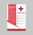 red medical flyer layout template brochure vector image