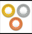 round empty medals of gold silver bronze vector image