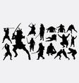 samurai and sumo silhouette vector image