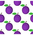 seamless background plum on white background vector image vector image