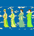 set for chinese women of song dynasty vector image