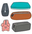 set pencil case vector image vector image