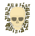 skull with notes icon cartoon style vector image vector image
