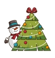 snowman smiling cartoon vector image vector image