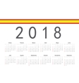 Spanish 2018 year calendar vector image