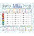 template school timetable vector image vector image