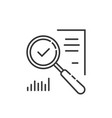 thin line magnifying glass like audit assess vector image vector image