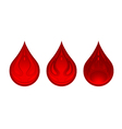 three drops of blood red color vector image vector image