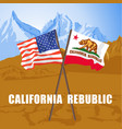 us and california state flags on death valley vector image vector image