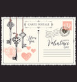 vintage valentine card with keys to heart vector image vector image