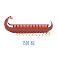 wooden ship with oars wood boat naval transport vector image vector image