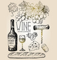ink hand drawn style red wine set vector image
