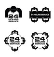 24 hour service with people icon set in black vector image