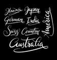 america and australia hand written typography vector image vector image