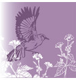 background vintage bird with flowers vector image