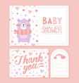 bashower invitation card with lovely bear vector image