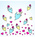 birds and flowers heart love fly group vector image